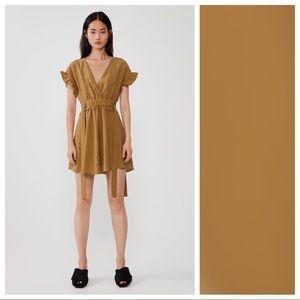 NWT. Zara Mustard Mini Dress with Bows. Size M.